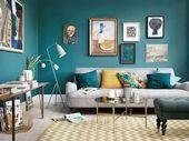 Senf und blaue Wohnzimmerideen 61 | Inspira Spaces#gardenia #gardena #landscaped…