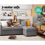 Sofa Bed Lounge Set 3 Seater Futon Couch Storage Chaise Corner Grey | Sofas |