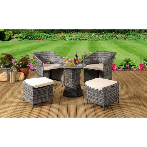 Sol 72 Outdoor Destini 4 Seater Bistro Set with Cushions | Wayfair.co.uk