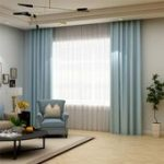 Solid Light Blue Curtain Modern Silk Imitation Curtain Living Room Bedroom Black...