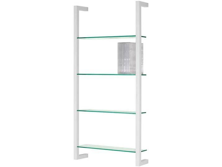 Stahl Wandregal Glasböden mit Weiß