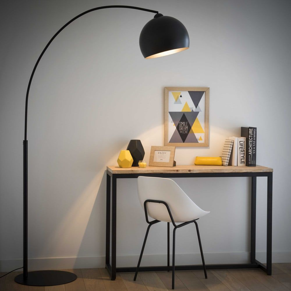 Stehlampe  aus Metall, H 190cm, schwarz   Maisons du Monde