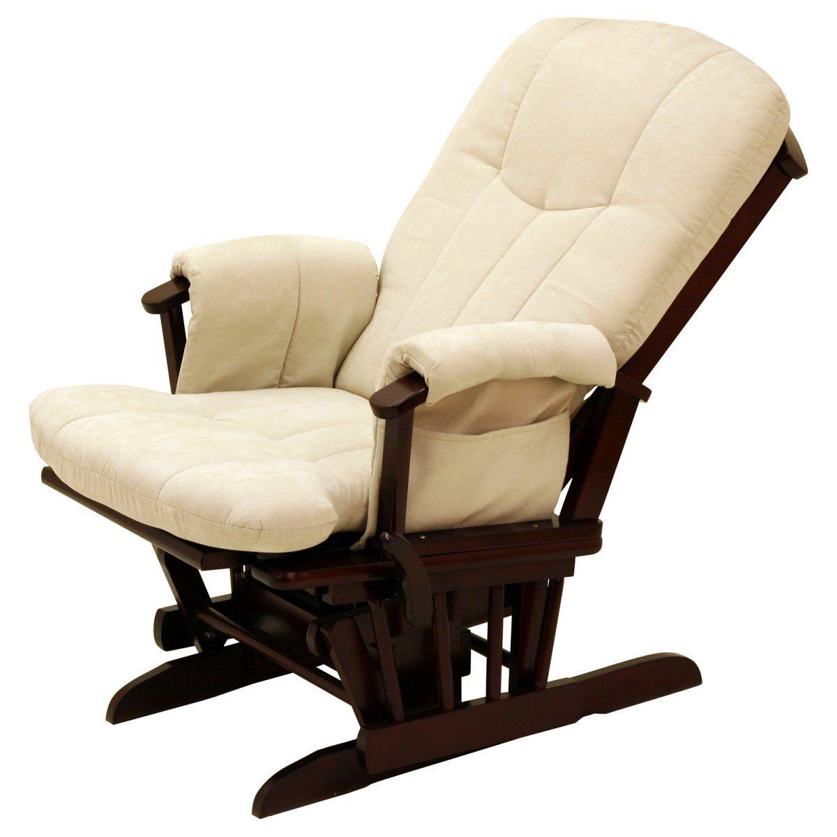 Storkcraft Deluxe Reclining Glider Rocker – Cherry/Beige – Indoor Rocking Chairs…