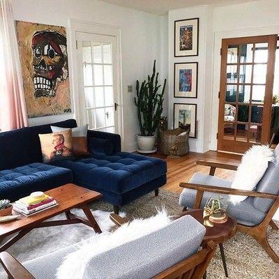 Sven Cascadia Blue Right Sectional Sofa