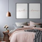 Sweet Dreams Rose Gold Print, Set of 2 Rose Gold Prints, Bedroom Wall Decor, Copper Above Bed Art, Nursery Print, Copper Sweet Dream Poster