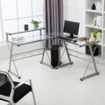 Symple Stuff Perseus Reversible Glass L-Shape Desk,  #Desk #Glass #lshape #modularOfficeFurni...