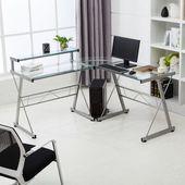 Symple Stuff Perseus Reversible Glass L-Shape Desk,  #Desk #Glass #lshape #modularOfficeFurni…