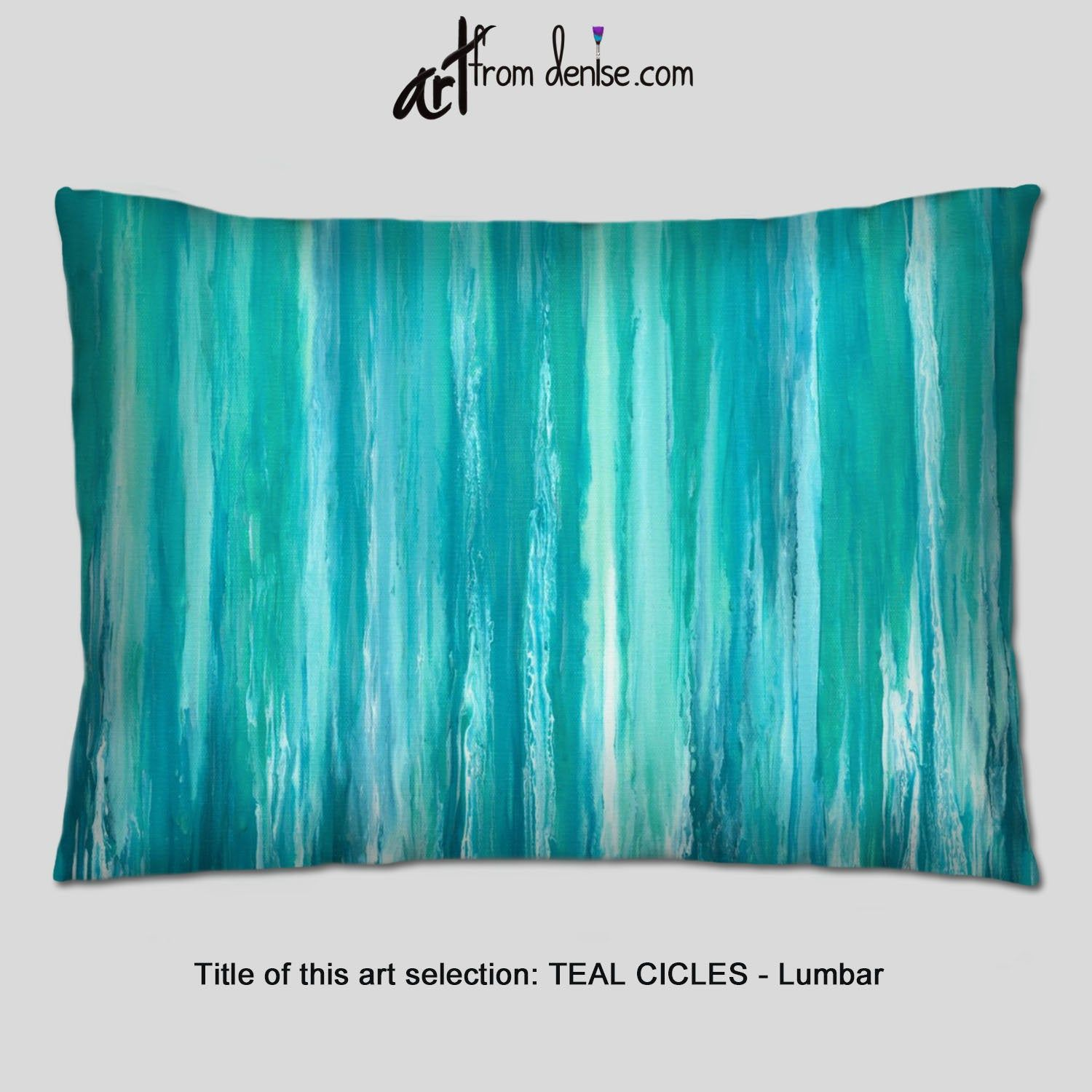 Teal lumbar pillow, White, turquoise green and blue decorative throw pillows for bed decor, couch pillows set or outdoor lumbar