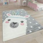 Teppich Kinderzimmer Grau 3-D Motiv Alpaka Design Pastellfarben Weich Robust Kinderteppiche