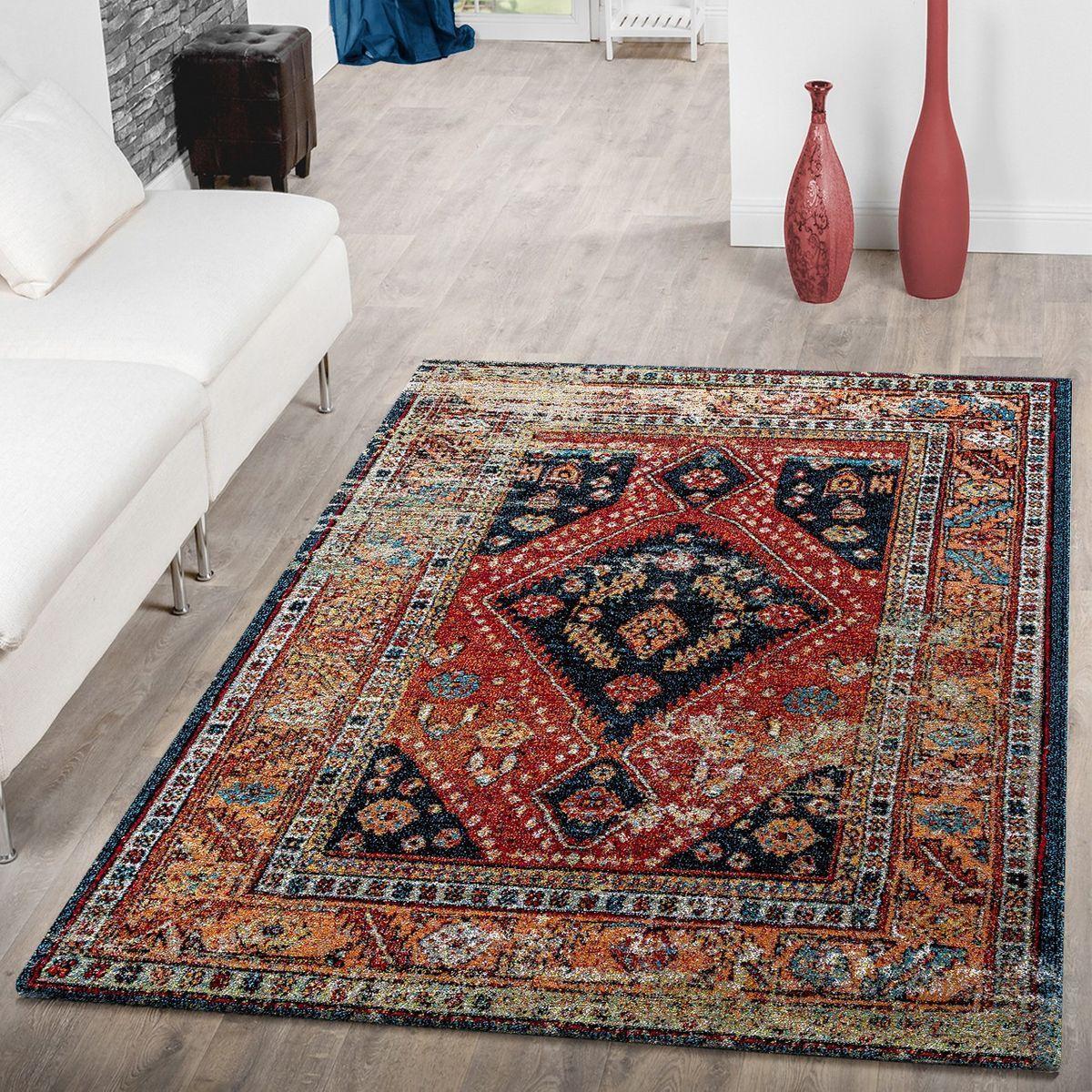Teppich Modern Orientalisch Schwarz Mehrfarbig   Wohnzimmer-Teppiche   Teppiche …