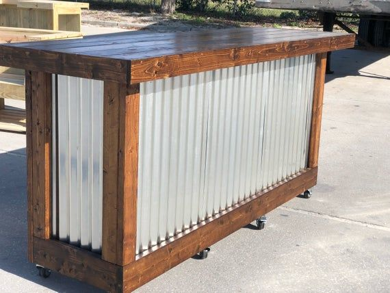 The Plank Provincial – 8 foot mobile corrugated metal  exterior patio bar