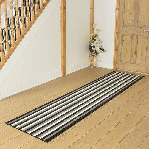 Three Posts Bainsby Tufted Black Hallway Runner Rug | Wayfair.co.uk