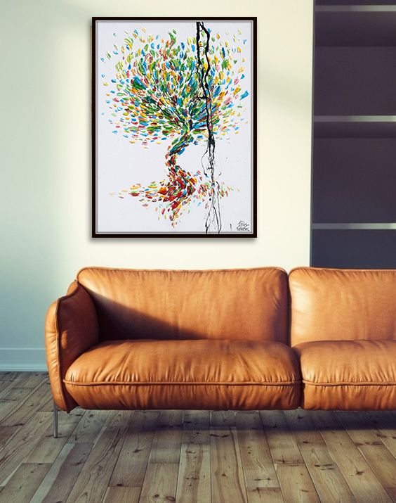 Tree 40″ x 30″ Original oil painting on canvas, Luxury thick layers tree of Life, Gives extremely good vibes, by Koby Feldmos