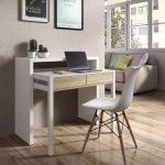 Tressa White with Oak Extending Console Dressing Table - Simple Desk