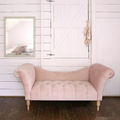 Tufted Chaise Lounge Velvet Blush – Simply Shabby Chic