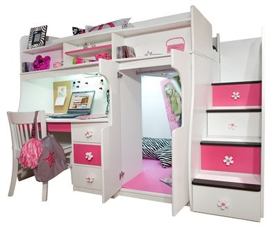 Twin Loft with Central Play Area and Desk   Bedroom Furniture, Beds   Berg Furniture