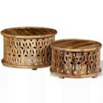 Unique Coffee Table 2pc Set Small Wood Retro Living Room Side Oriental Furniture...