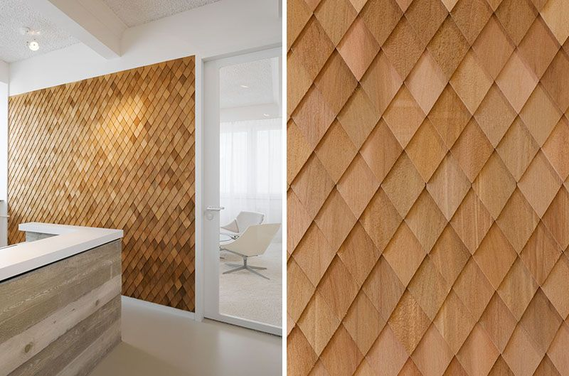 Using Wood Shingles To Create An Accent Wall Adds Warmth And Texture To An Interior