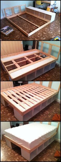Using bookcases as a bed frame is one easy way to build a bed with storage. It's…