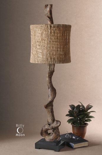 Uttermost 29163-1 Weathered Driftwood / Matte Black Driftwood 1 Light Table Lamp with Natural Twine Shade