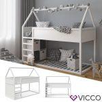 VITALISPA Haus Hochbett Pinocchio Spielbett Hausbett Kinderbett Leiter Erle weiß Jugendbett 90x200cm | Rakuten
