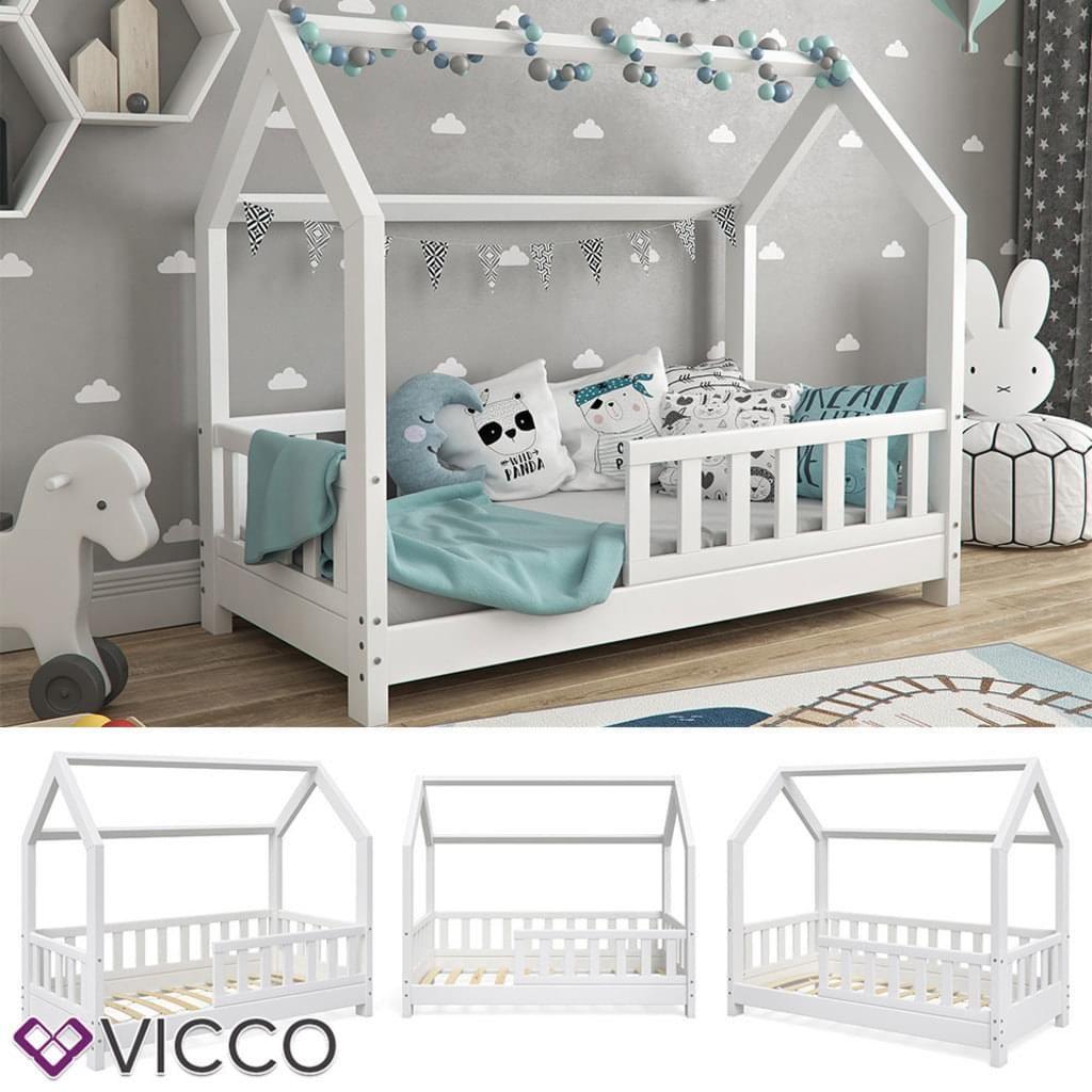VitaliSpa Hausbett WIKI 70x140cm Zaun Weiß Kinderbett Kinderhaus Kinder Bett Holz