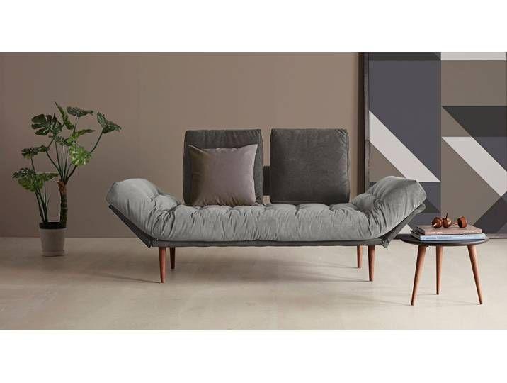 Webstoff-Schlafsofa mit Taschenfederkern-Matratze in grau – Oldbury –