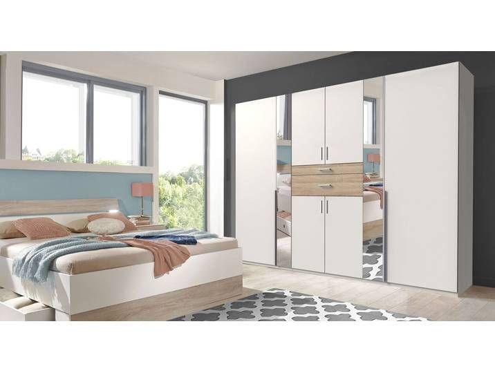 Weißer Kleiderschrank mit Spiegeltüren & Schubfächern – Kormoran – Sch