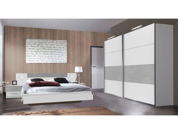 Weißer Schiebetüren-Kleiderschrank mit Beton Dekor – Dahlen – BETTEN.d