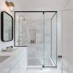 White bathroom. Minimal. Black steel doors.