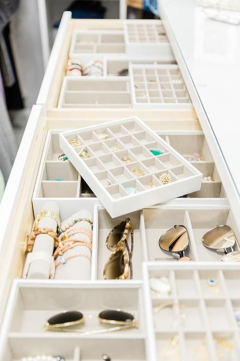 White custom closet dresser boasts jewelry drawers filled with The Container Sto…