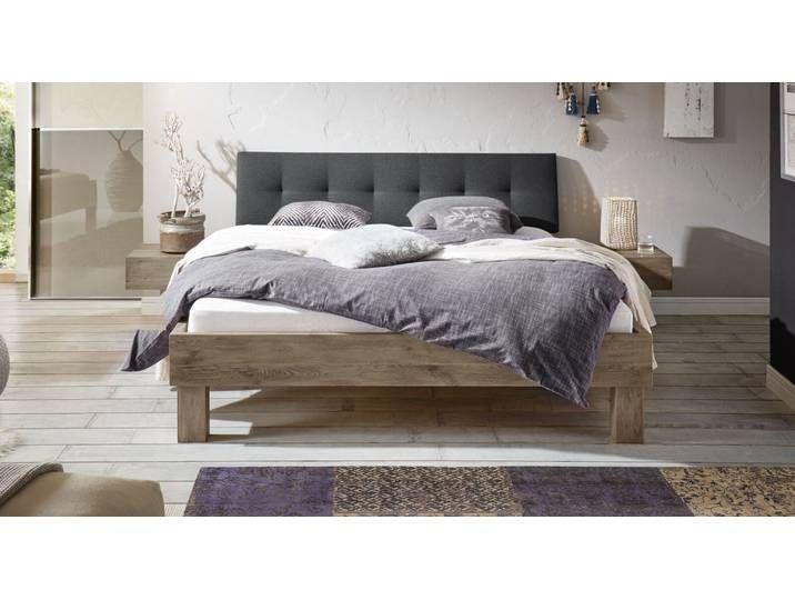 Wildeiche-Bett massiv gepolstertes Kopfteil 140×220 cm – Santa Luiza –