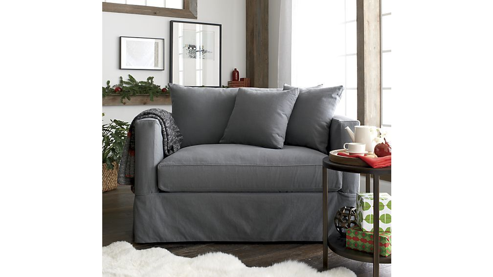 Willow Grey Chair and a Half Sleeper + Reviews | Crate and Barrel