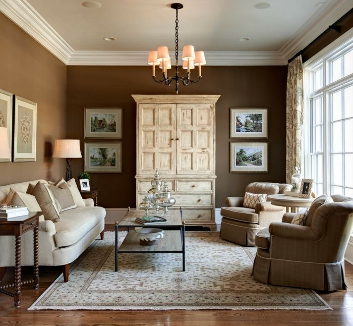 Wohnzimmer Braun – 60 Möglichkeiten, wie Sie ein braunes Wohnzimmer gestalten