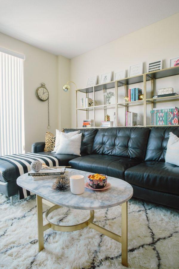 Wohnzimmer Schwarzes Ledersofa – Dekoration ideen