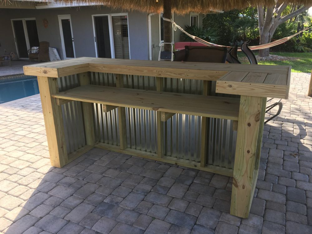 Wood/Metal Thomas  – 3′ x 8′ x 3′ 2-level rustic corrugated metal and real pressure treated wood outdoor or indoor patio bar