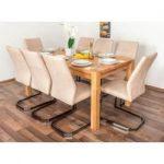 Wooden Nature Esstisch-Set 317 inkl. 8 Stühle (beige), Buche Massivholz - 160 x 90 (L x B) Steinerst