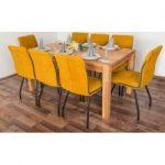 Wooden Nature Esstisch-Set 335 inkl. 8 Stühle (gelb), Buche Massivholz - 160 x 90 (L x B) Steinerste
