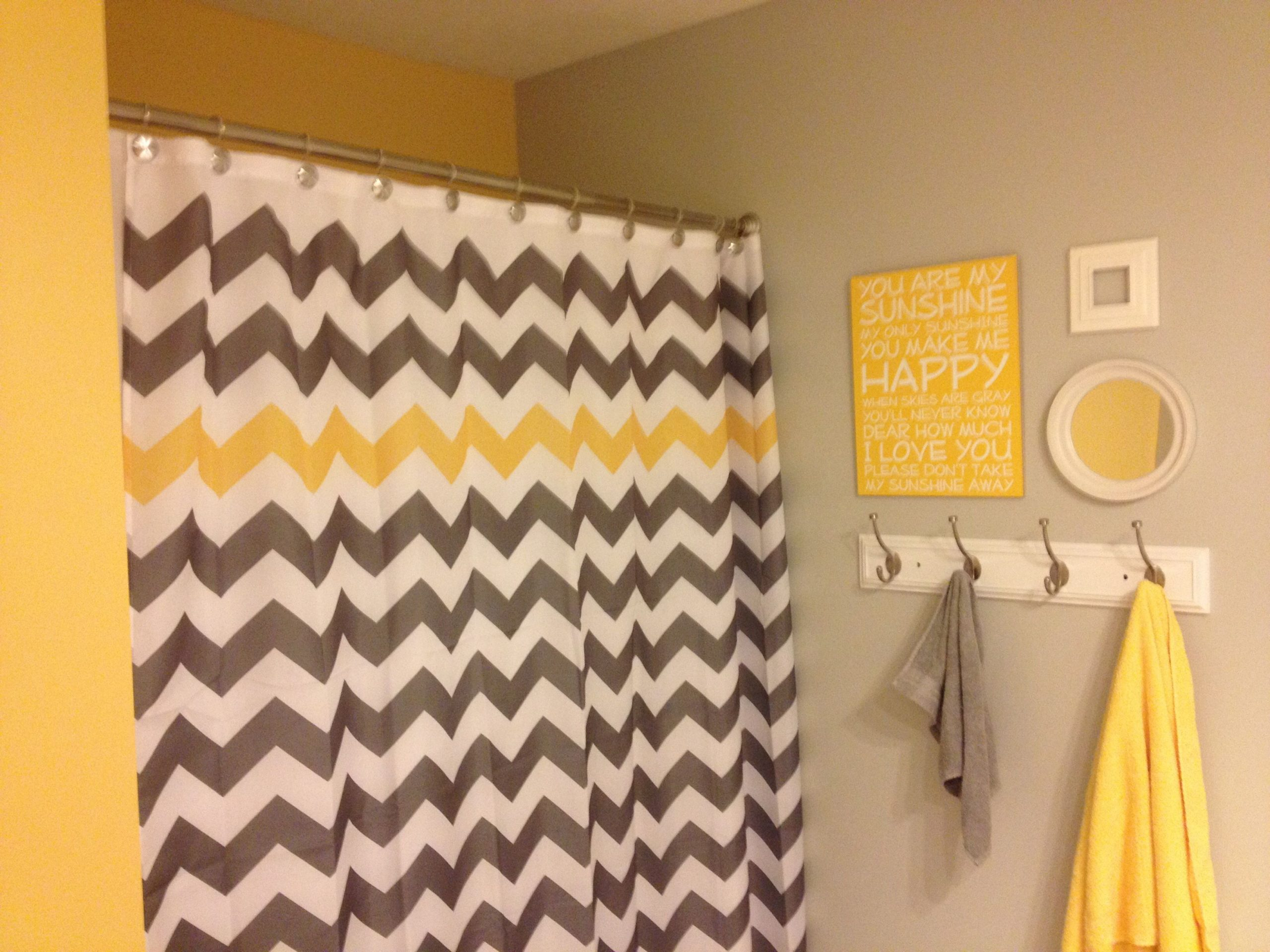 "Yellow and grey ""you are my sunshine"" chevron kids bathroom – valspar notre dame…"