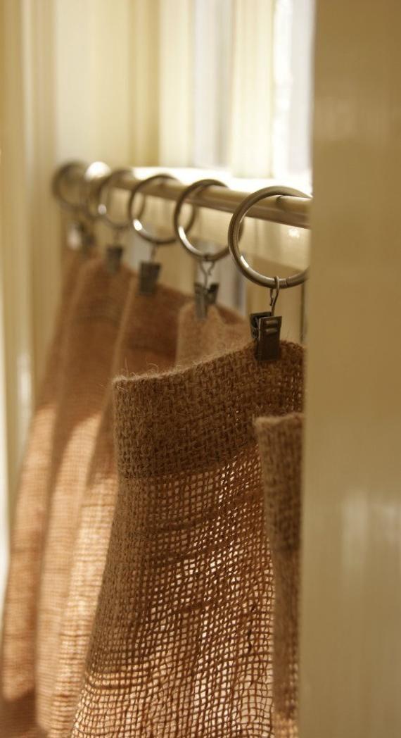 natural burlap cafe curtains country farmhouse home decor /kitchen drapes/ rod pocket panels valance