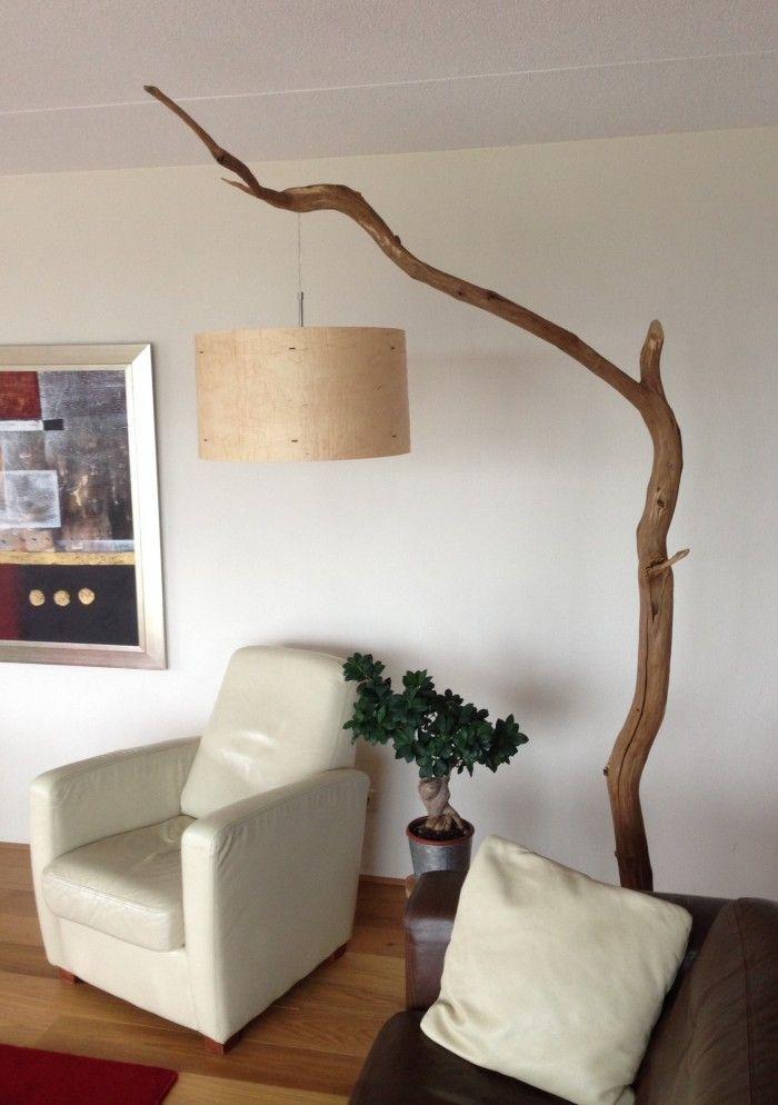 staande hanglamp gemaakt door gbhnatureart met hout fineer lamperkap van rond 50 – Wood Design