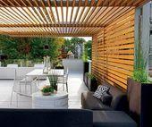 terrassenüberdachung aus holz schwarzes ecksofa weißer tisch   –  #OutdoorGard…