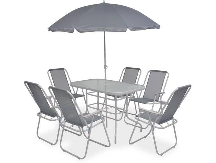 vidaXL 8-tlg. Garten-Essgruppe Stahl und Textilene Grau