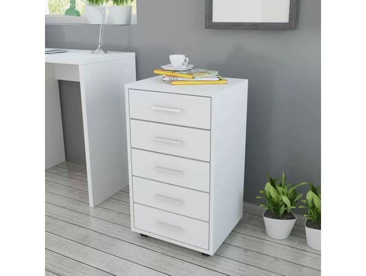 vidaXL Büroschubladenschrank auf Rollen 5 Schubladen weiß