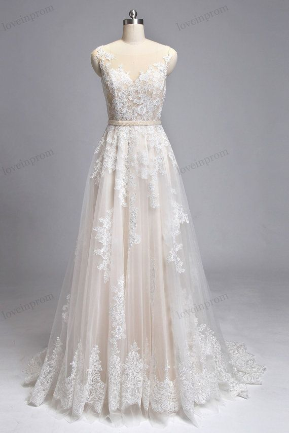 $259 vintage lace wedding dresses handmade sheer mesh by loveinprom bnkefsv