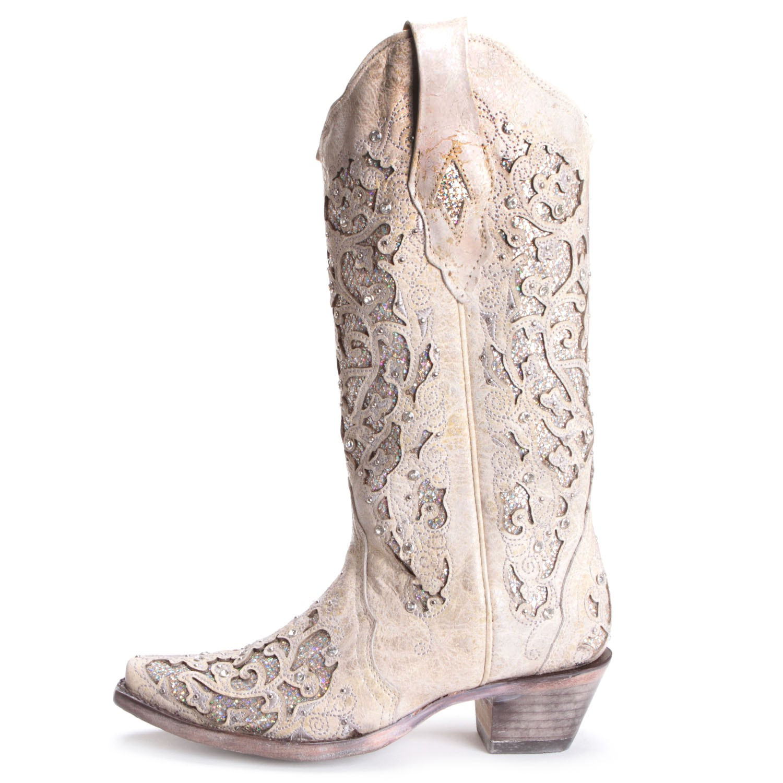 ... corral womens glitter inlay and crystal snip toe wedding boots white ... fdxlzuj