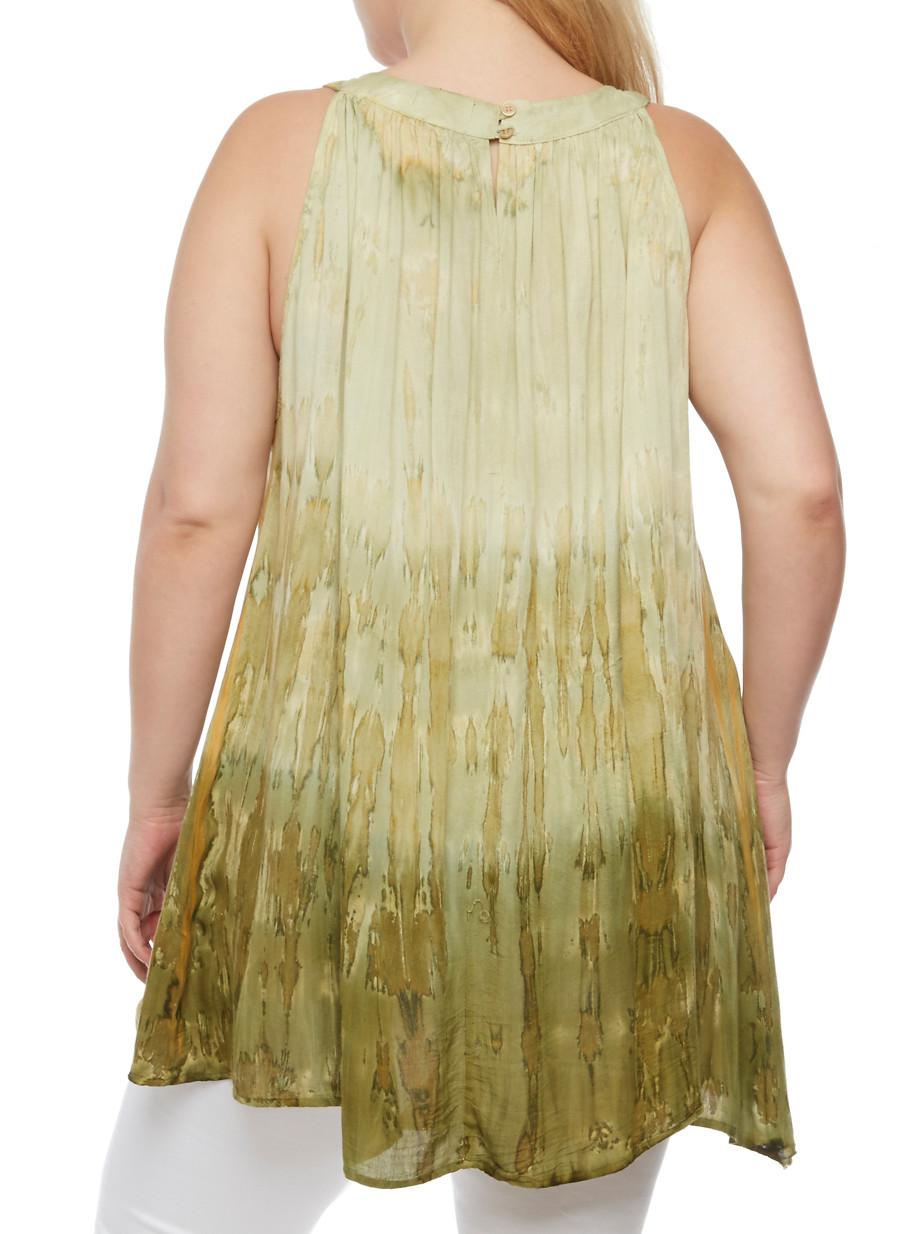 ... plus size sleeveless dip dye tunic top,green,large kmifjul