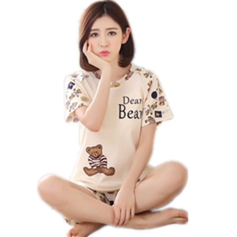 2017 cute pajamas women summer cotton short-sleeved pajamas female summer  leisure thin ofedavw