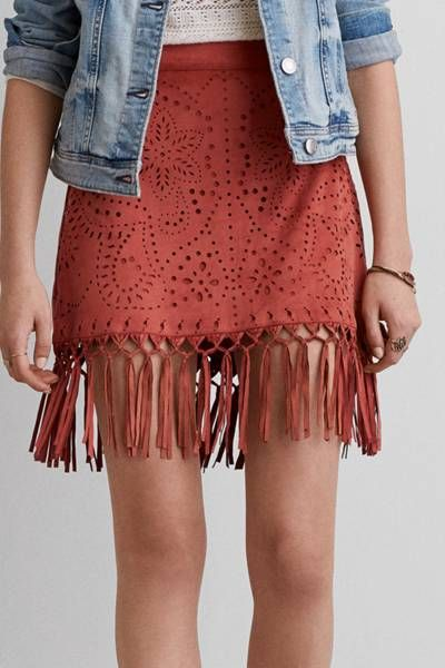 aeo faux suede fringe skirt by aeo | on the fringe: draw attention cutctsv