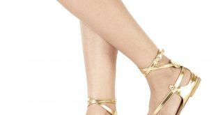 gold ankle strap flats doqszwa